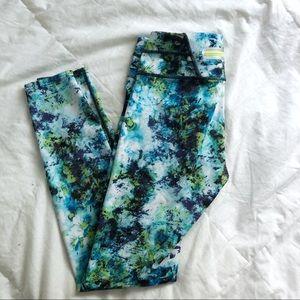 Athleta Blue Green Printed Zipper Leggings